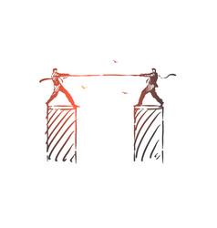 Rivalry opposition struggle concept sketch hand vector