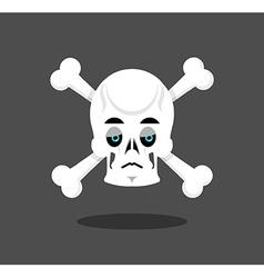 Sad skull emotion Crossbones melancholy skeleton vector image