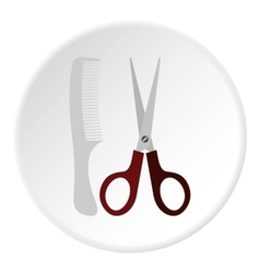 Scissors and comb icon flat style vector image