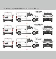 Set compact l1 cargo mini vans 2016 vector