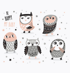 set cute cartoon owls with ethnic ornament vector image