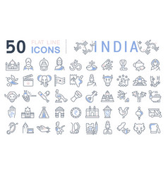 Set line icons india vector