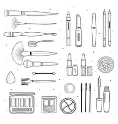 set of decorative cosmetics hand drawn style vector image