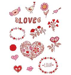 Set of floral romantic doodle elements vector image