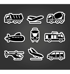 Set of stickers transport color pictograms vector