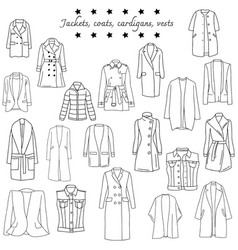 set of top warm clothes vector image