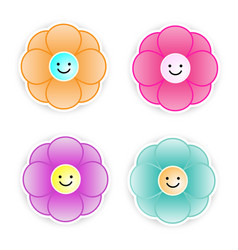 smiley paper flower on white background vector image