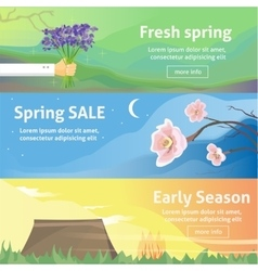 Spring baners Fresh spring background with grass vector