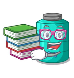 Student with book cartoon water tank for in vector