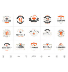 sushi restaurant logos and badges set japanese vector image