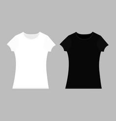 T-shirt template set black white color man woman vector