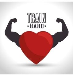 train hard heart arm icon gym vector image