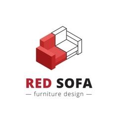 Trendy isometric red sofa logo vector