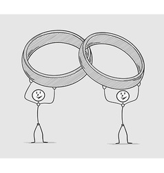 Two persons holding rings over their head vector