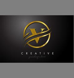 V golden letter logo design with circle swoosh vector