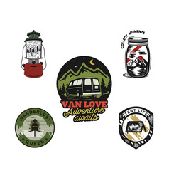 Vintage hand drawn travel emblems set adventure vector