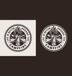 Vintage summer camping round label vector