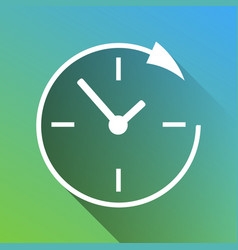 Wall clock support white icon with gray dropped vector