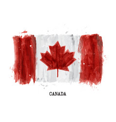 Watercolor painting flag of canada vector