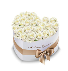 white roses bouquet box realistic vector image