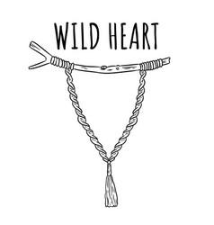 Wild heart macrame boho style label textile vector
