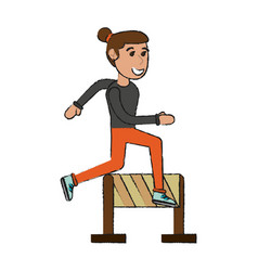Woman jumping a barrier cartoon vector