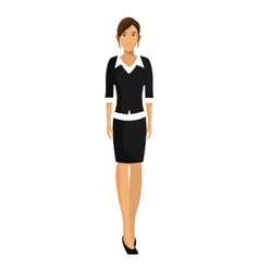Woman with black sweater business working vector