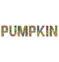 Word pumpkin decorative zentangle object vector