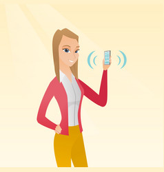 Young caucasian woman holding ringing mobile phone vector