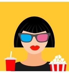 3D glasses big popcorn and soda Brunet girl vector image vector image