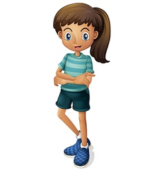 A young girl wearing a stripe-colored tshirt vector image vector image