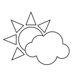 sun cloud weather symbol thin line vector image vector image