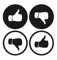 Thumb up and down symbols human hand icon vector