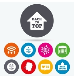 Back to top signs Scroll up with arrow vector image vector image