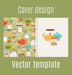 cover design with teapots pattern vector image vector image