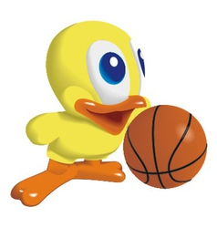 duck with basketball ball vector image vector image