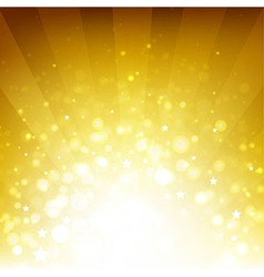 Golden Background With Sunburst And Stars vector image vector image