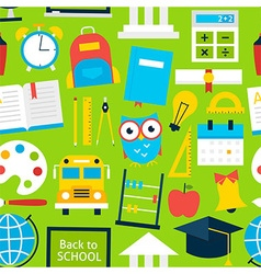 Green Tile Pattern Back to School vector image vector image
