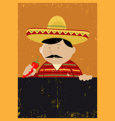 grunge mexican chef cook menu vector image