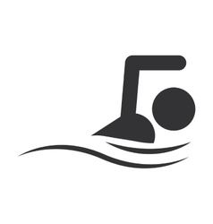 monochrome silhouette with man swimming vector image
