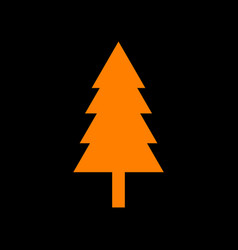 new year tree sign orange icon on black vector image