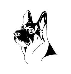 Portrait German Shepherd dog - black and white vector image