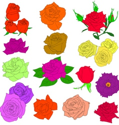 set of in hand drawn style roses vector eps 10 ill vector image