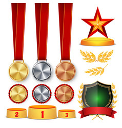 Ceremony winner honor prize trophy awards cups vector