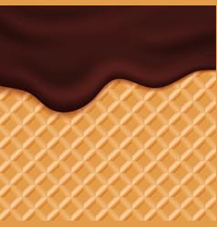 Chocolate ice cream glaze on wafer background vector image vector image