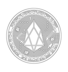 crypto currency eos black and white symbol vector image vector image