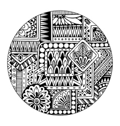 Ethnic tribal pattern in circle Black and white vector image vector image
