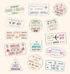 passport stamp of travel visa for tourism design vector image