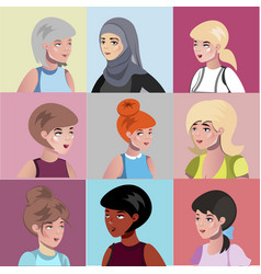 set of different female characters vector image vector image