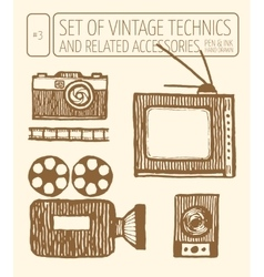Set of vintage technics Hand drawn pen and ink vector image vector image